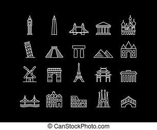 International landmark simple line - World landmark...