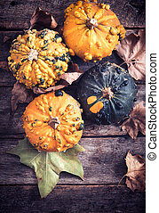 Orange pumpkins - Scary orange pumpkins on wooden...
