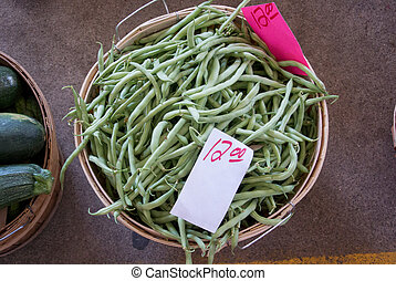 Basket of String Beans - Local string beans for sale at a...