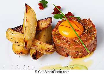 Tartar Beef with Fried Potato - Tartar beef with slices of a...