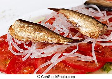 salade, de, sardine,