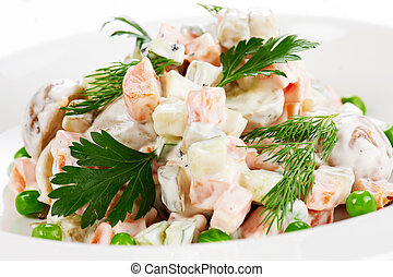 Vegetable Salad with Mayonnaise - Vegetable salad with green...