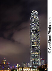Night view of IFC (International Financial Centre) in Hong...