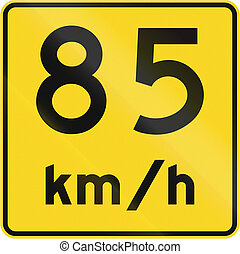 Speed Limit 85 Kmh In Canada - A road sign in Canada - Speed...