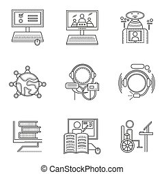 Thin line style distant education vector icons