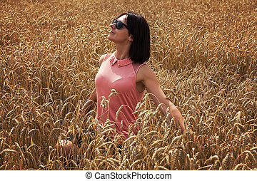 Happy woman enjoying a nice weather - Happy woman in the...