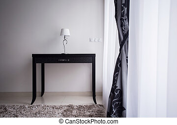 Lamp on a decorative table