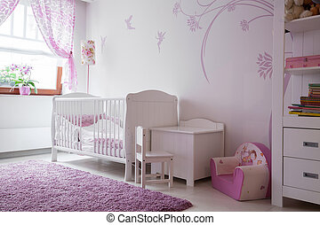 Baby room with white furniture - Interior of baby room with...