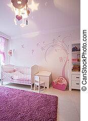 Cosy pink white child room - View of cosy pink and white...