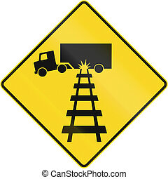 Truck Damage Warning in Canada - Warning road sign in...
