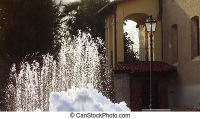 a frozen fountain - beautiful fountain in winter season