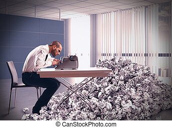 Pile of drafts - Overworked exhausted businessman writes...