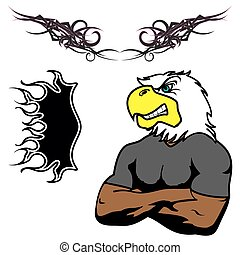 angry eagle muscle cartoon set - angry eagle muscle cartoon