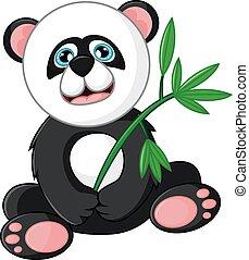 Cartoon happy panda holding bamboo