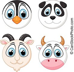 Collection baby face animal - vector illustration of...