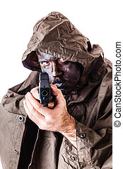 Deadly infantryman - a soldier wearing a poncho or raincoat...