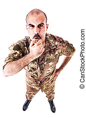 Sergeant Blowing the whistle - a soldier or drill sergeant...