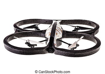 Quad copter - a quad copter spy drone isolated over a white...