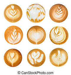 Set of Latte Art top view on White background