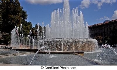Italy, Milan Cityscape. - beautiful fountain in milan
