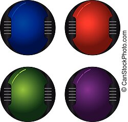 Hi-tech buttons - Colorful hi-tech buttons vector set