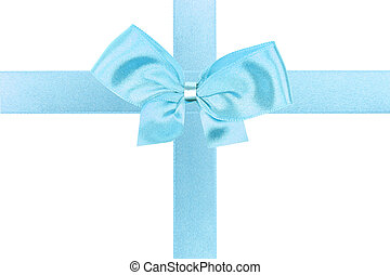 Big blue holiday bow perfectly isolated on white background (very easy to cut out)