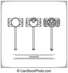 Fantasy Hammer Lineart - Set of fantasy game hammer inlaid...