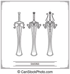 Rounded Fantasy Sword Lineart - Set playing fantasy swords...
