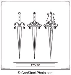 Spiky Fantasy Sword Lineart - Set playing fantasy swords...