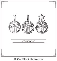 Icons Fantasy Sword Lineart - Set of game icons fantasy...