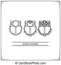Icons Fantasy Hammer Lineart - Set of game icons fantasy...