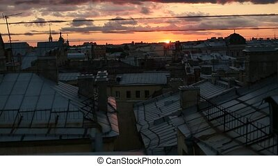 Rooftops of the old center of St Petersburg, Russia during...