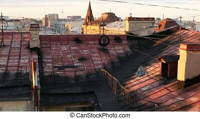 View over the rooftops of the old center of St Petersburg in...