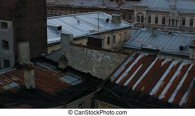 View over the rooftops of the old center of St Petersburg,...