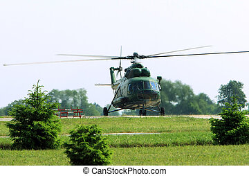 Helicopter - Modern military helicopter bristling