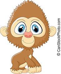 Cartoon monkey cute posing