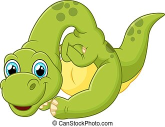 Cute dinosaur cartoon - vector illustration of Cute dinosaur...
