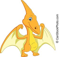Cute pterodactyl cartoon - vectoer illustration of Cute...