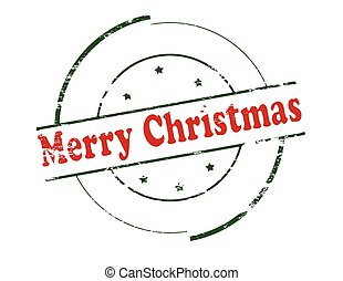 Merry Christmas - Rubber stamp with text Merry Christmas...