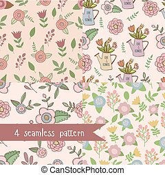 Set 4 seamless flower pattern - Cute hand drawn summer...