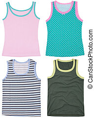 Set of sleeveless shirts Isolated on a white background