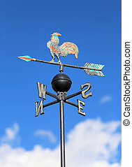 weathercock for measuring wind direction with the cardinal...