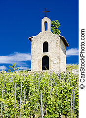 grand cru vineyard and Chapel of St Christopher, LHermitage,...