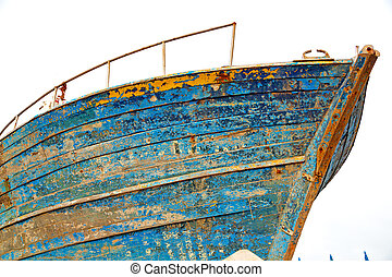 boat in africa old and abstract pier - boat and sea in...