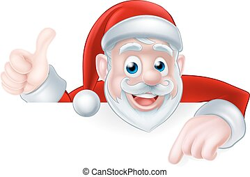 Christmas Santa Pointing - A Christmas illustration of a...