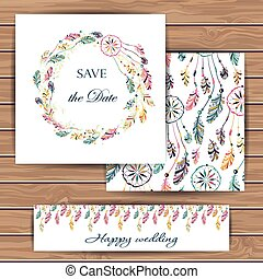 Save the date card with dream catcher.