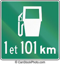 Gas Station Dstances in Canada - Canadian traffic sign - Gas...