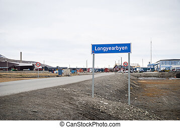 Road sign of Longyearbyen city, Svalbard, Norway