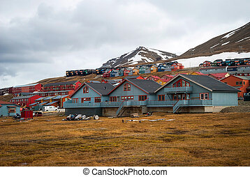 Longyearbyen city, Svalbard - Colorful houses in...