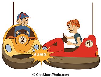 bumper car drivers - illustration of two teenage bumper car...